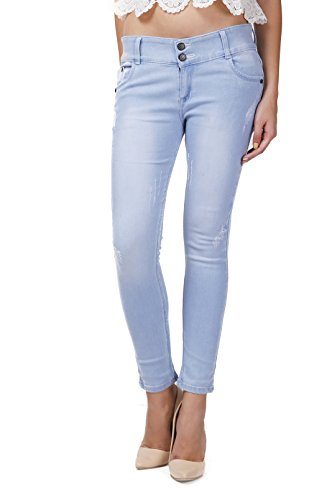 Miss Wow Ice Blue slim fit denim jeans for Women