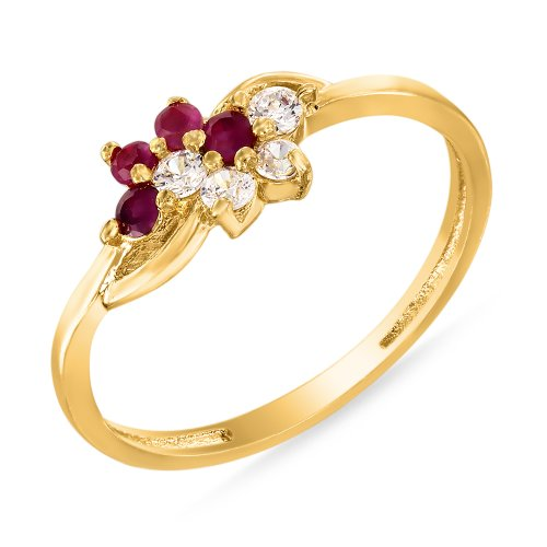 Mahi Ruby & CZ 24K Gold Plated Fashion Finger Ring for Women FR1100314G