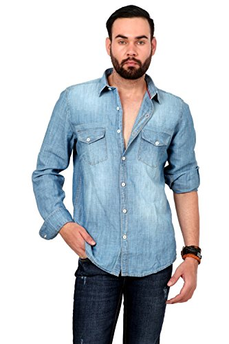 Urban Republic Mens Cotton Slim Fit Casual Light Blue Denim Shirt (L – 42 CM)