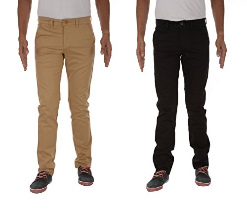 London Jeans Co. DNMX Men's Slim Fit Chinos- Pack of 2 (LJRVNDKB1, Black and Khaki, 36)