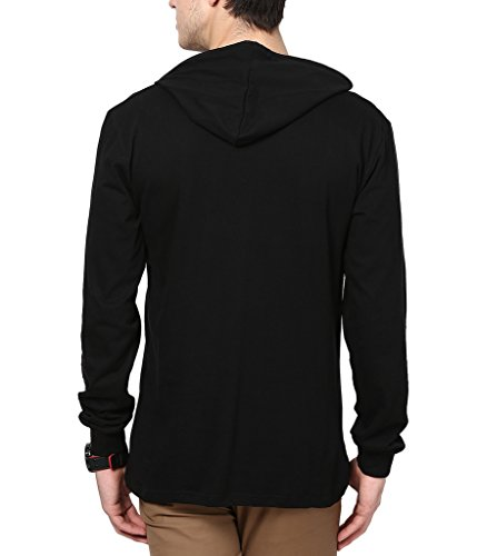 Inkovy Men's Cotton Full Sleeve Hooded T-Shirt (INKOVY-HOOD-FULL-BLACK-L_Large_Black)