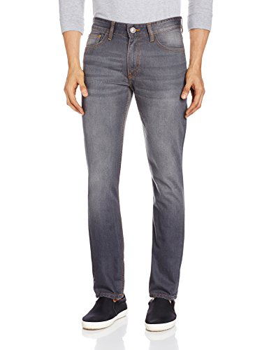 Highlander Men's Straight Fit Jeans (HLJN000460_34W x 33L_Grey)