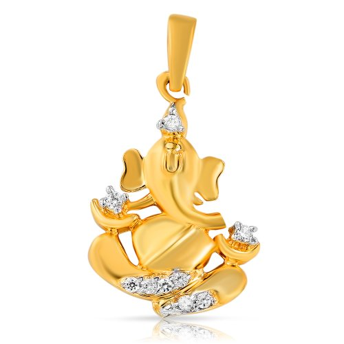 Mahi Collection  Gold Plated CZ Stones Ganpati Pendant For Men And Women – PS1101375G