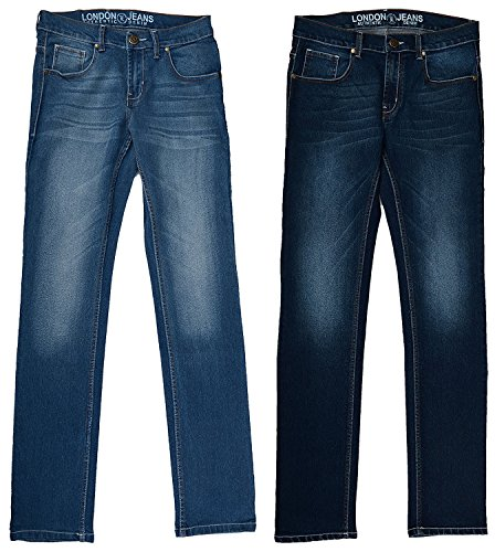 London Jeans Men's Slim Fit stretchable jeans (PACK OF 2)(LJNC16DKLT_34, Blue, 34)