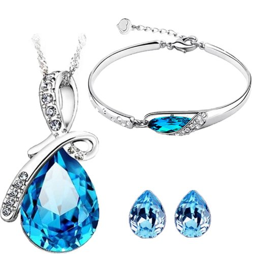 CYAN bow style crystal jewelry set Combo with charming bracelet for women