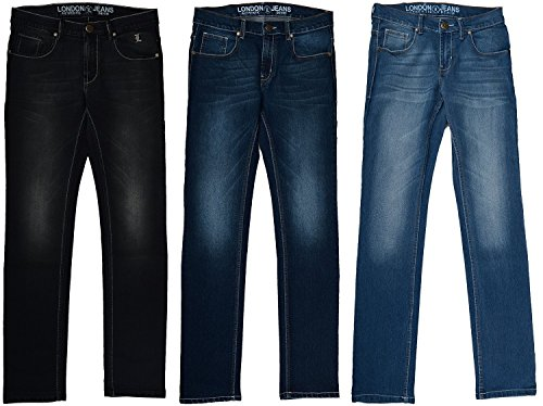 London Jeans Co. Dnmx Men's Slim Fit Jeans (Pack of 3)(aljrvsbdl_38_Blue_38)
