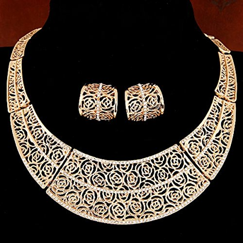 Ravki Woman Jewellery Satr Imitation Jewellry Maxi Necklace New Fashion Openwork Flowers Type Statement Necklaces & Pendants Jewelry Set
