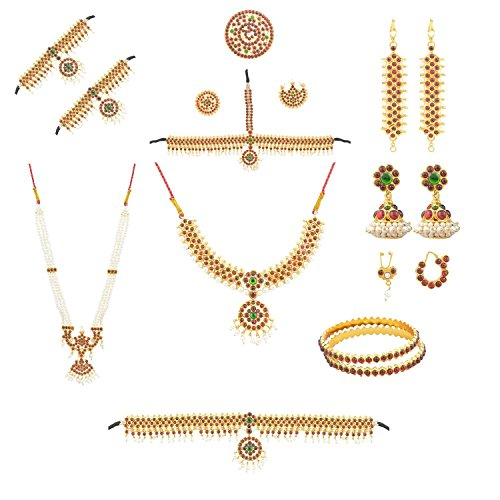 Bharatanatyam Kemp Stone Multi-Colour Metal Jewelry Dance Full set For Women