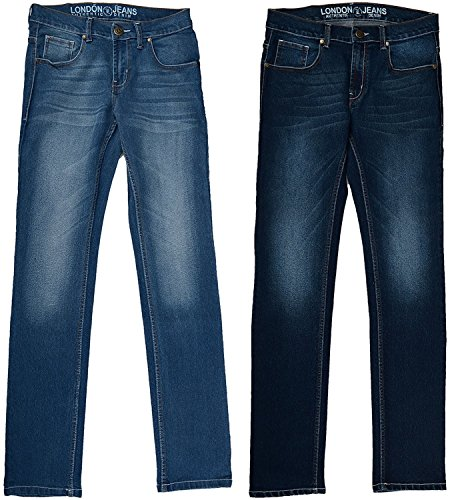 London Jeans Co. DNMX Men's Cotton Slim Fit Jeans (aljrvsbd_28_28_Blue)