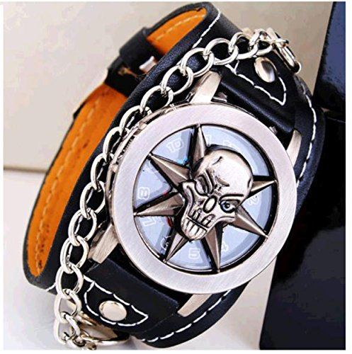 Horror Skull Lid Black Leather Strap With Chain Wrist Watch for Boys (HOR0601)