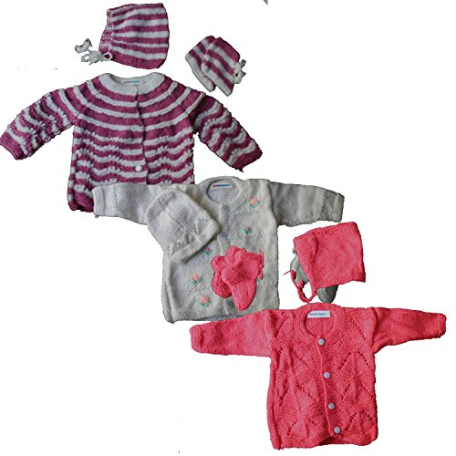 Newborn Baby Sweater Set For Infant Girl Boy , Handknit Woollen / Winter Clothing Set, New born Gift [PACK OF 3 Sweaters ] (LBWOL10003, 0 – 6 Months): Pattern/Color as per Stock