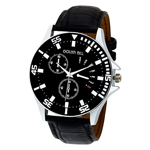 Golden Bell Original Chronograph Look Black Dial Wrist Watch for Men