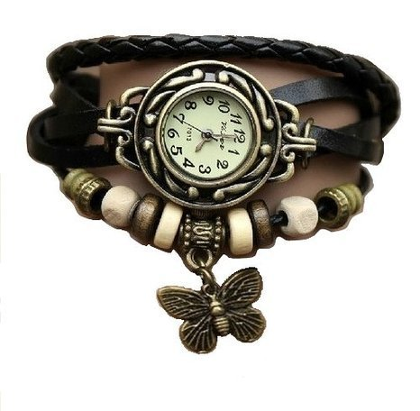 SHVAS — Leather Bracelet Watch – Analog Display – Off White Dial – for women with FREE GIFT [an exquisite & elegant finger ring]