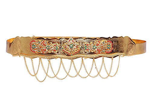Jewbang Gold plated Multi colour Peacock model Waist belt belly chain for women-JBW003