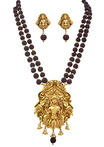 JFL – Traditional magnificent Mahalaxmi One Gram Gold Plated Ethnic Rudraksha mala Designer Necklace Set for Girls & Women.
