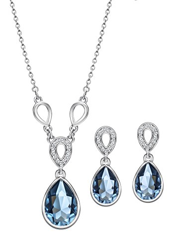 Ananth Jewels Swarovski Blue Crystals Tear Drop Pendant Necklace Earrings Set for Women
