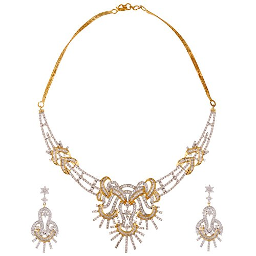 Swasti Jewels American Diamond AAA CZ Zircon Fashion Jewellery Set Necklace Earrings for Women