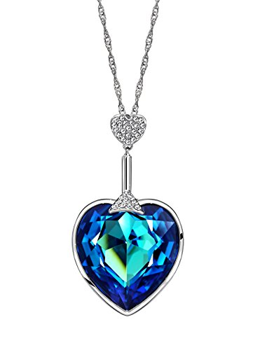 Ananth Jewels Swarovski Blue Austria Crystal & Rhinestone Heart Pendant Necklace for Women