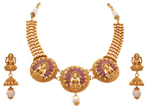 JFL – Traditional Ethnic Temple Laxmi Goddess One Gram Gold Plated Designer Necklace Set/ Jewellery Set Studded with Stones for Women & Girls