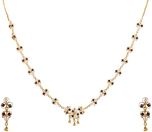 Ketan Jewellers Gold Plated Silver Based Crystal Stone Necklace Set With Earring For Women (0-66)