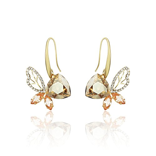 Ananth Jewels Swarovski Elements Austria Crystal Butterfly Gold Plated AAA Zircon Dangle Earrings for Women