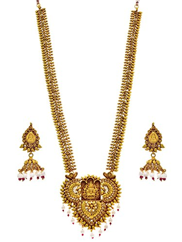 JFL – Traditional Ethnic Temple Laxmi Goddess One Gram Gold Plated Designer Long Necklace / Jewellery Set embellished with White Pearl & Jhumki Earring for Women & Girls
