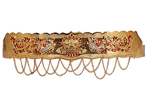 Jewbang Gold plated Multi colour laxmi disc peacock model Waist belt belly chain for women-JBW007