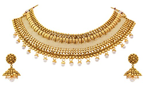 JFL – Traditional Ethnic Bridal One Gram Gold Plated Pearl Designer Choker Necklace set with Earring for Girls & Women.