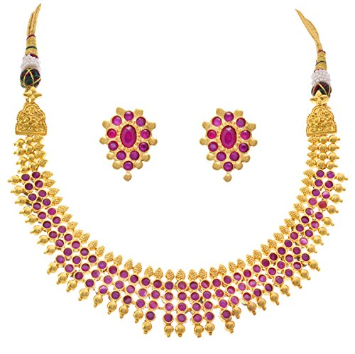 JFL – Traditional Ethnic Ruby Red Cz American Diamond One Gram Gold Plated Designer Necklace Set for Girls & Women.