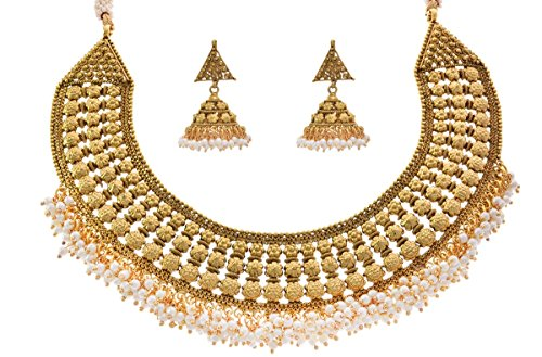 JFL – Traditional Ethnic Antique Semi Bridal One Gram Gold Plated Floral Flower Designer Necklace / Jewellery Set embellished with Pearl & Earring for Girls & Women