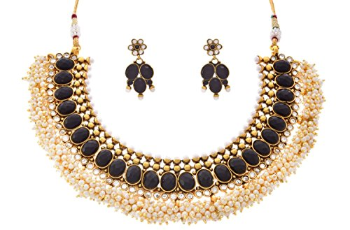 JFL – Traditional Ethnic One Gram Gold Plated Black Stone Cz American Diamond polki Designer Pearl Necklace Set for Girls & Women.