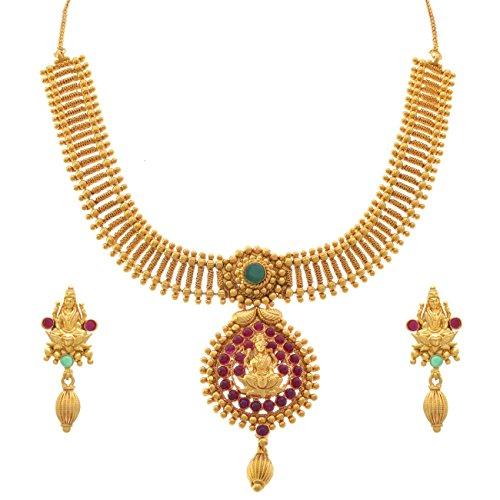 JFL – Traditional Ethnic Temple Magnificent Mahalaxmi One Gram Gold Plated Matt Gold Pink & Green Designer Necklace Set for Women and Girls