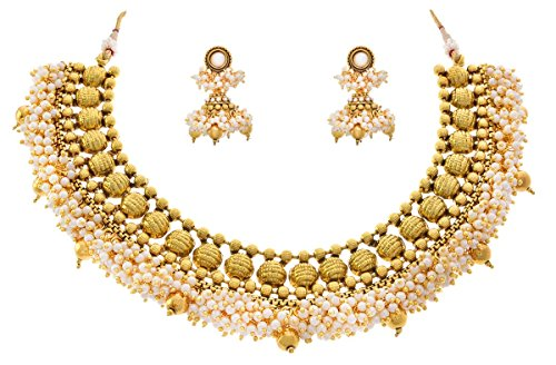 JFL – Traditional and Ethnic Golden Bead White Pearl One Gram Gold Plated Necklace Set with Jhumka Earrings for Girls & Women