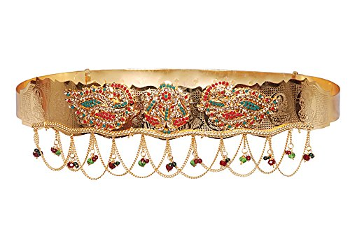 Jewbang Gold plated Multi colour Laxmi dic n Peacock model Waist belt belly chain for women-JBW004