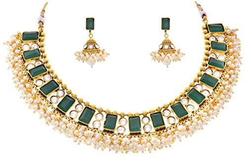JFL – Traditional One Gram Gold Plated Green Stone Cz American Diamond Polki Designer Necklace Set with Pearls for Girls and Women.
