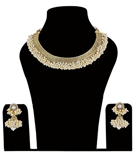 Ethnic Traditional Gold Tone Choker Necklace With Drop Earrrings For Women's Jewelry
