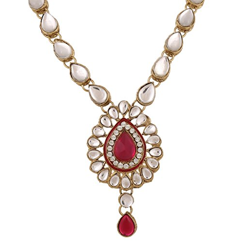 Dancing Girl Rani Pink Metal Pendant Necklace With Earring Set For Women