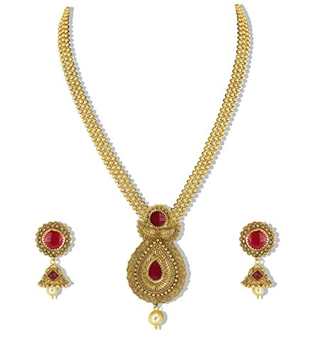 Zaveri Pearls Gold Non-Precious Metal Pendant Necklace With Jhumki Earring For Women
