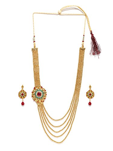 Zaveri Pearls Pink Non-Precious Metal Multistrand Necklace With Drop Earring For Women