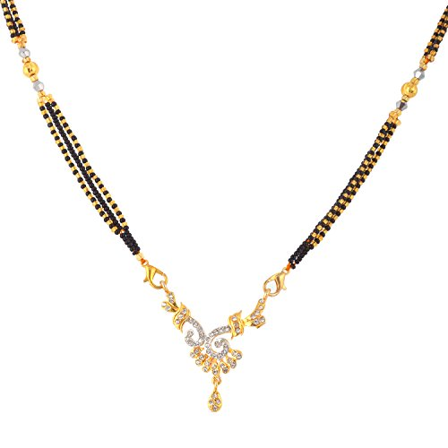 Handicraft Kottage CZ Yellow Gold Mangalsutra with Free Triple Black Beaded Chain for Women