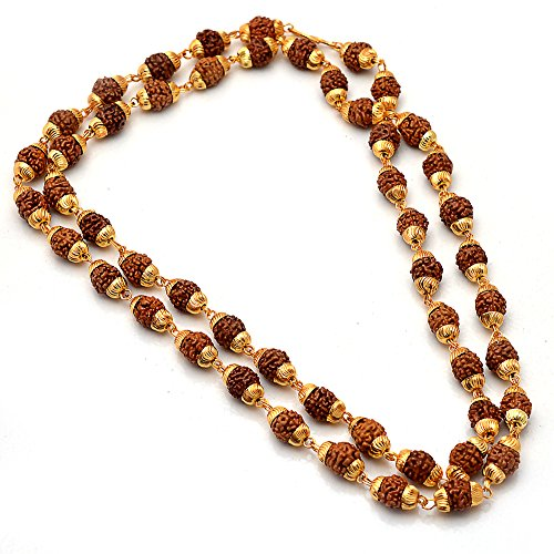 Jewar jewelbox Shiva God gold plated rudraksh mala chain long 24 inches for Men 6587