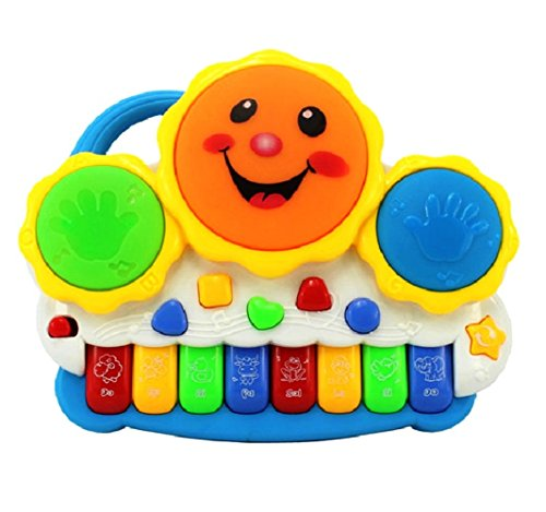 L&J Drum Keyboard Musical Toys With Flashing Lights, Animal Sounds & Songs – Battery Operated Kids Toys