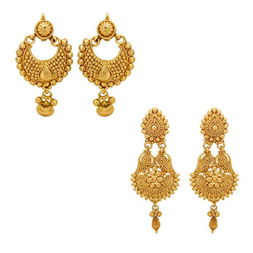 Donna White Gold Plated Dangle & Drop Earring For Women(Combo Of 2)