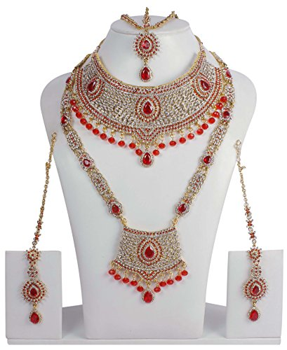 Exclusive Gold Plated Royal Look Full Bridal Necklace Set For Women's Wedding Jewelry