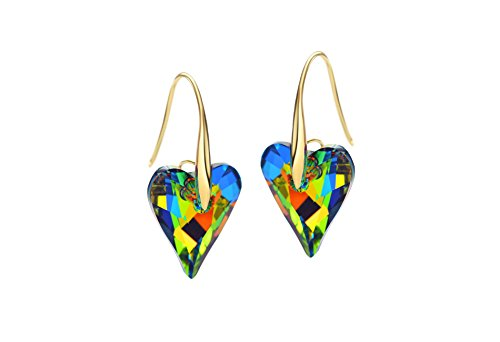Ananth Jewels Swarovski Green Crystal Elegant Love Heart Style Dangle Earrings for Woman