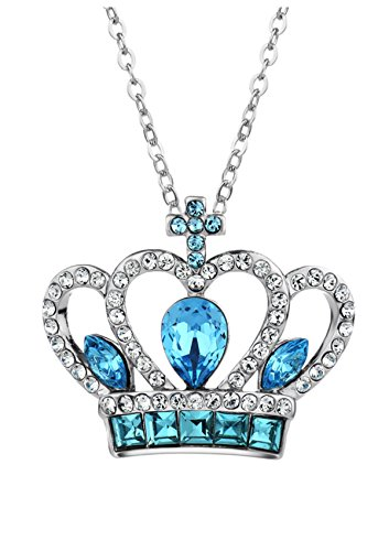 Ananth Jewels Swarovski Elements Blue Crystal Princess Crown Pendant Necklace Fashion Jewellery for Women