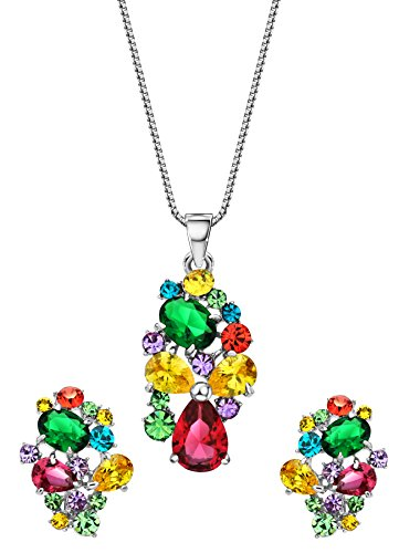 Ananth Swarovski Elements Zircon Floral Necklace Earrings Gift for Wife Set for Women