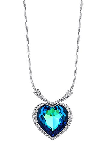 Ananth Jewels Swarovski Elements Blue Crystal Titanic Ocean Heart gift for Valentine Girlfriend Pendant Necklace For Women