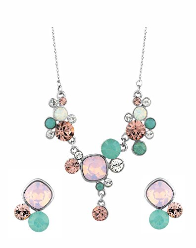 Ananth Jewels Swarovski Elements Crystal Multicolour Floral Necklace Earring Jewellery Set for Women