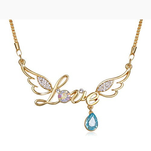 Ananth Jewels Swarovski Crystals Grafitti Letter Love with Wings Pendant Necklace for Women